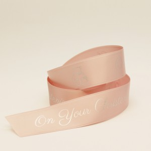 CHR15LLP25M 15mm Personalised Light Pink Christening ribbon