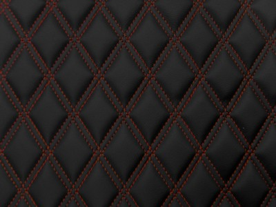 Black/Red Diamond Quilted Vinyl