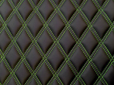 Black/Green Diamond Quilted Vinyl
