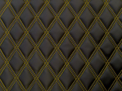 Black/Copper Diamond Quilted Vinyl