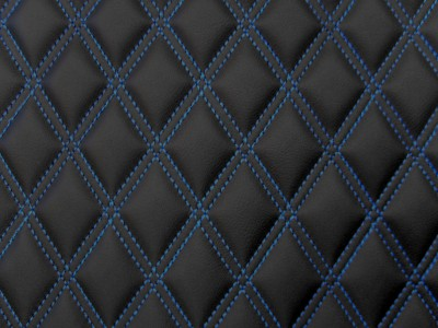 Black/Blue Diamond Quilted Vinyl