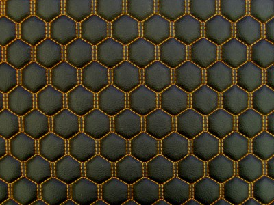 Black/Orange Hexagon Quilted Vinyl