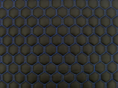 Black/Blue Hexagon Quilted Vinyl