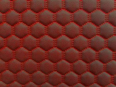 Red/Red Hexagon Quilted Vinyl