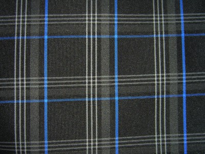 VW Golf Mk7 Black/Grey/Blue Tartan Foam Backed Fabric - Seconds F1421
