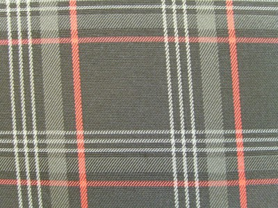 VW Golf Mk7 Black/Grey/Red Tartan Foam Backed Fabric - Seconds F1468