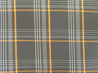VW Golf Mk7 Black/Grey/Orange Tartan Foam Backed Fabric - Seconds F1469