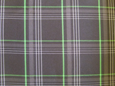 VW Golf Mk7 Black/Grey/Green Tartan Foam Backed Fabric - Seconds F1470