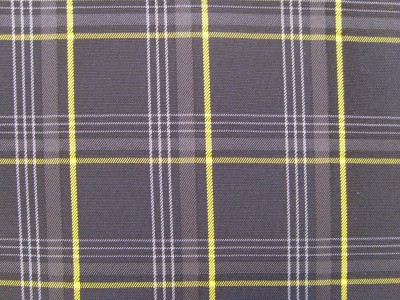 VW Golf Mk7 Black/Grey/Yellow Tartan Foam Backed Fabric - Seconds F1471