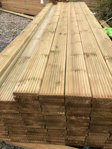 2.4m Total Sheds Decking Boards 32mm x 125mm Pressure Treated Tanalised