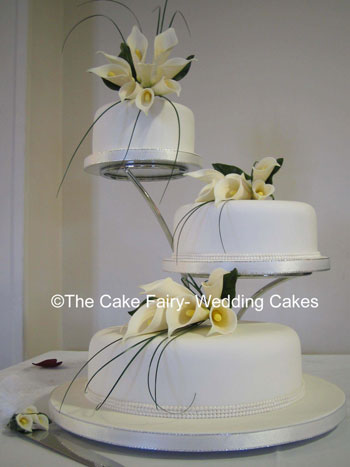 r36 Pearl Bands 3 Tier Wedding Cake Set Up On Offset Stand