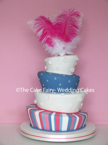 RW53 WONKY CARNIVAL  Eyecatching sugar stripes and coloured tiers finished with a feather topper