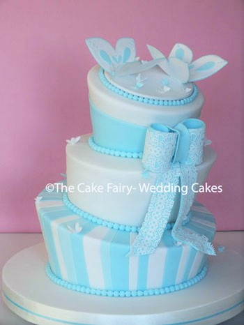 RW67 WONKY TIFFANY BUTTERFLY     A fresh looking Wonky Cake with a pair of handcrafted sugar butterflies on the top