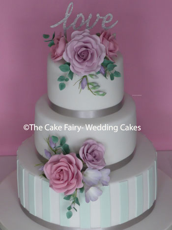 RS215 MINT STRIPE FLORAL - Sugar roses, freesias and eucalyptus finishing a sugar striped cake