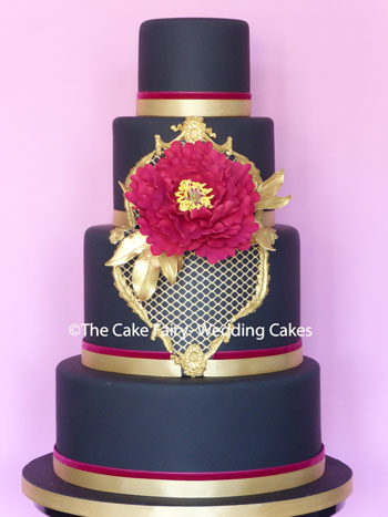 RS222 BLACK VELVET - your guests wont miss this eye-catching cake with a handcrafted sugar peony