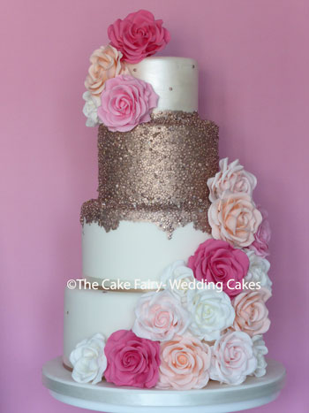 RS224 ROSE METALLICA - Rose gold drip sequin tier dressed with handcrafted sugar roses