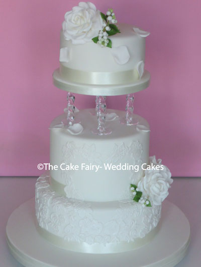R100 CRYSTAL LACY HEART - Sugar lace decorated cakes with handcrafted sugar roses and lily of the valley