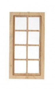 8 pane long dolls house wooden window