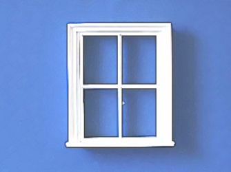 Dolls house window, Victorian, white finish.