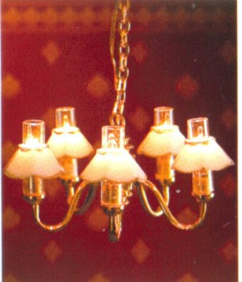 5 arm shaded chandelier, replaceable candle bulbs
