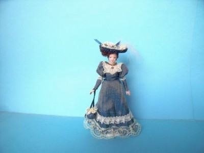 Dolls house Victorian lady in pretty blue dress