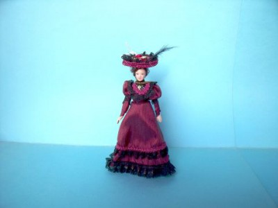 Dolls house Victorian lady in pretty red dress