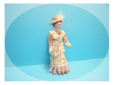 Dolls house doll, Victorian lady doll in beige