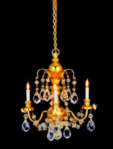 A beautiful chandelier with real crystal droplets.
