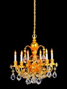 A super 6 arm chandelier with real crystal droplets.