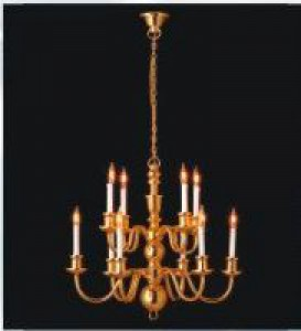 Dolls house 10 white candle chandelier
