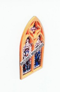 Miniature church stained glass window sheet.