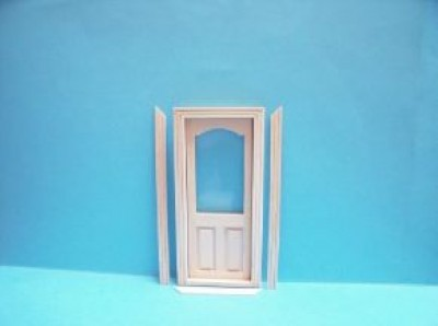 12 scale wooden door with acrylic and frames.