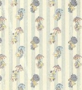 Raining ducks miniature nursery wallpaper