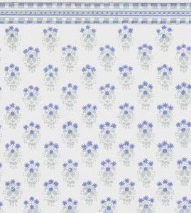 12 scale blue floral on white wallpaper
