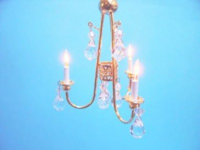 3 arm brass crystal chandelier
