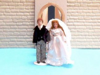 Bride and Groom, dolls house miniature.