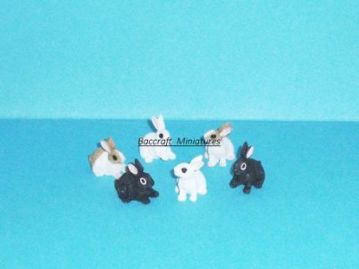 miniature rabbits, set of 6
