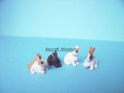 miniature rabbits, set of 4
