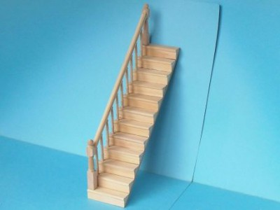Dolls house wooden staircase, complete