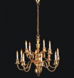 Dolls house chandelier 12 arm gold finish