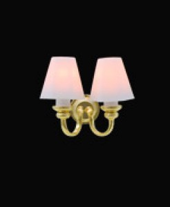 Dolls house miniature twin wall light, conical shades, 24 scale