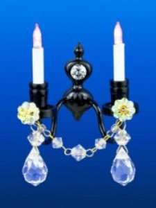 Miniature twin wall light with real crystal droplets