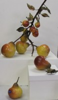 CERAMIC PEARS- WILLIAM BLUSH - BRANCH WITH METAL TWIGS AND LEAVES   INDIVIDUAL PEARS