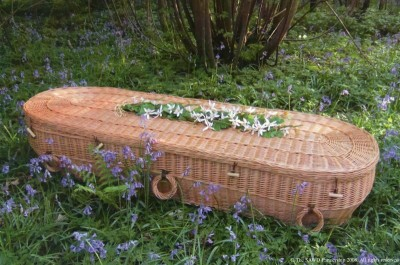 Wicker Coffin - Different style are possible, here we have rounded ends to the coffin