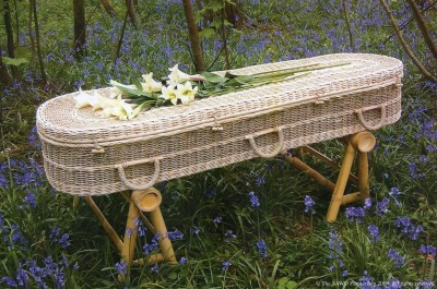 A coffin made from Seagrass. In this example we have rounded ends, but a more traditional shape is also possible.