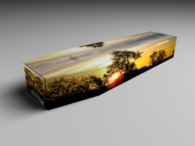 It is possible to have a design printed on a coffin - here we have an image of a peaceful sunrise. (it is possible to have an image of your own design or choice)