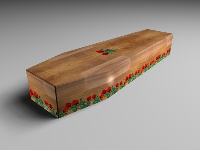 If you do not want the whole coffin covered in an image, a simple border design is also possible. Here we have a simple Rose border design.