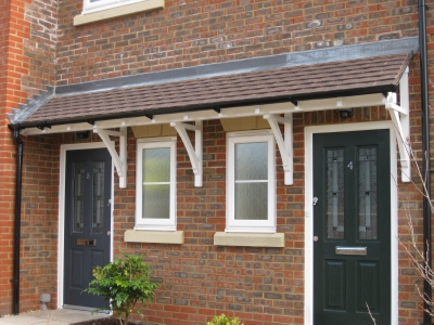Bespoke Cosworth Canopy. Front Door Canopy_curved Brace Detail