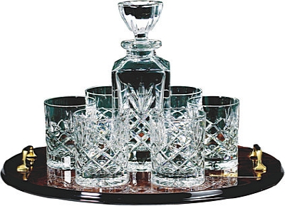 Crystal Decanter & 4 Spirit Glasses