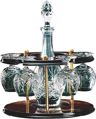 Crystal Carousel Decanter & 4 Brandy Balloons